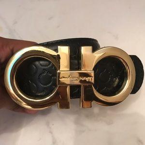 Golden ferragamo belt